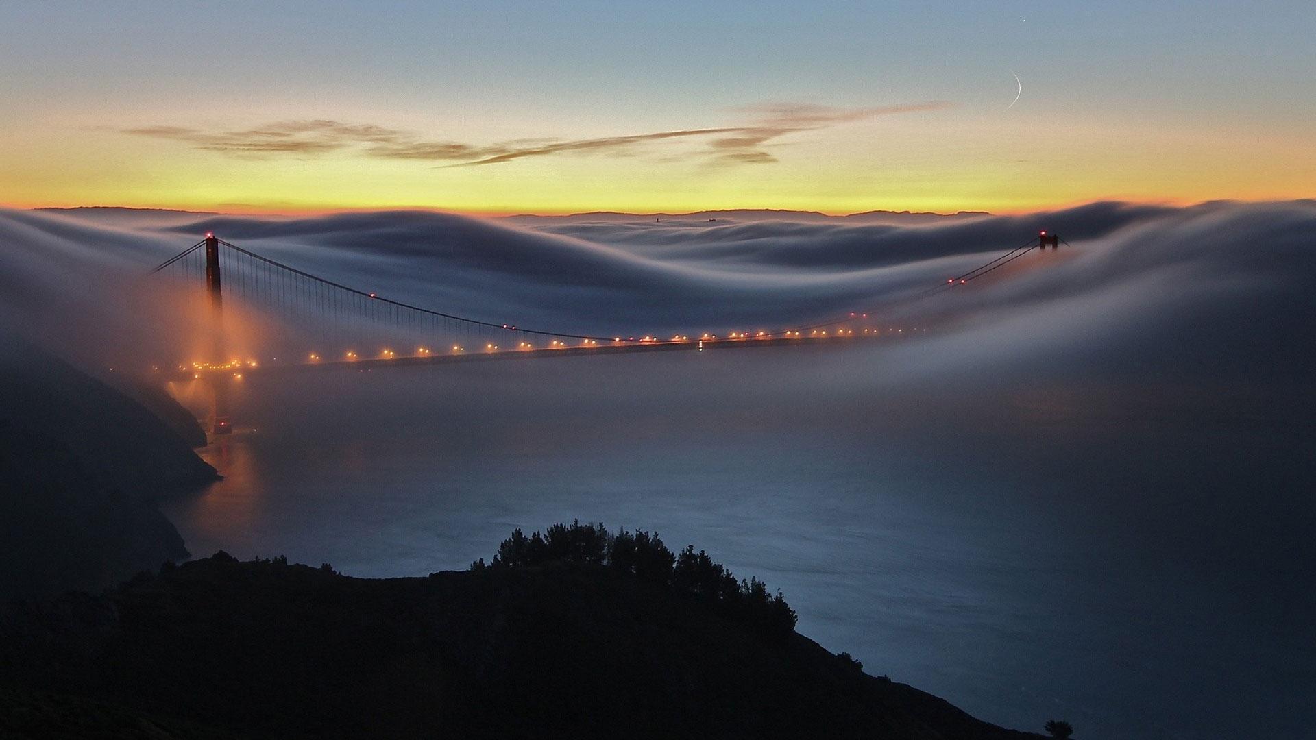 мост в тумане Сан Франциско