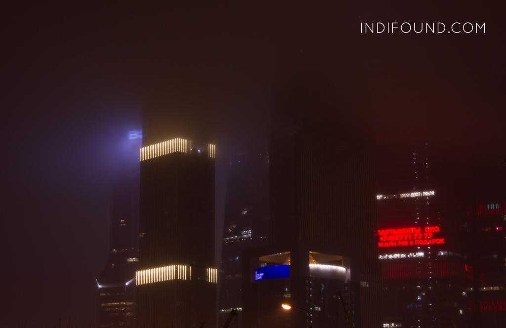 москва сити в тумане